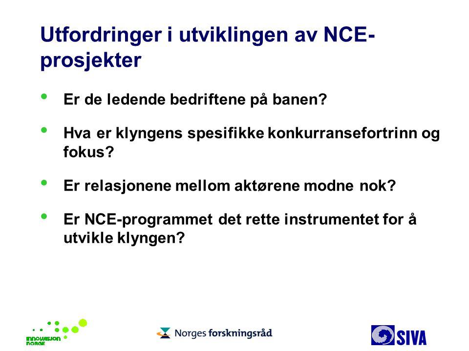 Utfordringer i utviklingen av NCE-prosjekter