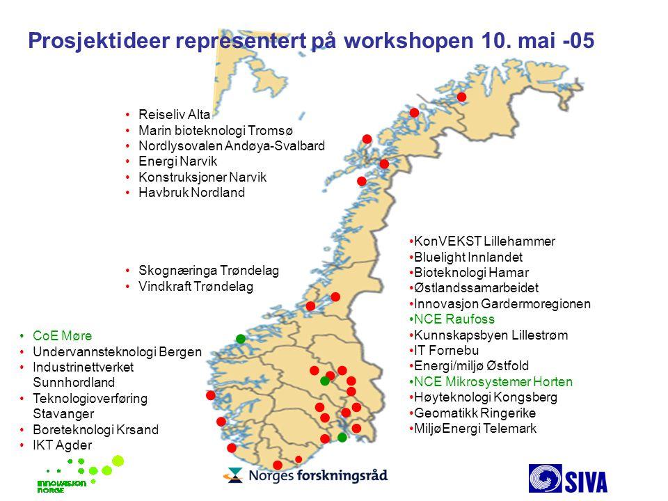 Prosjektideer representert på workshopen 10. mai -05