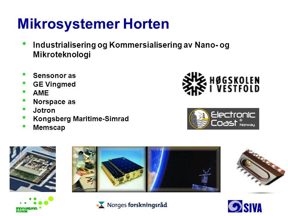 Mikrosystemer Horten Industrialisering og Kommersialisering av Nano- og Mikroteknologi. Sensonor as.