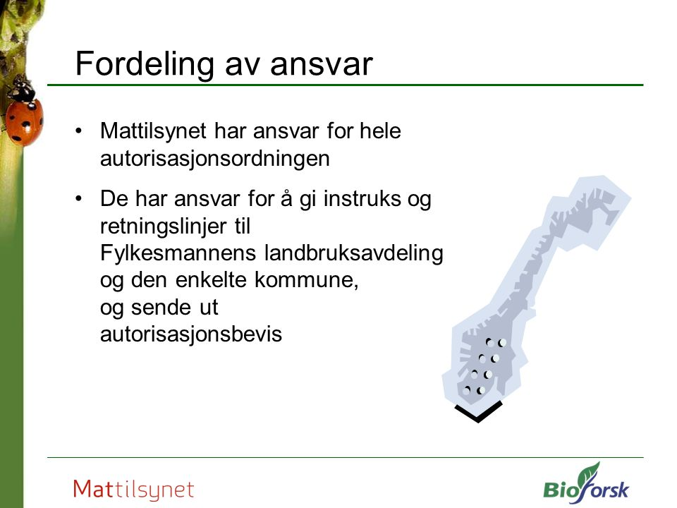 Fordeling av ansvar Mattilsynet har ansvar for hele autorisasjonsordningen.