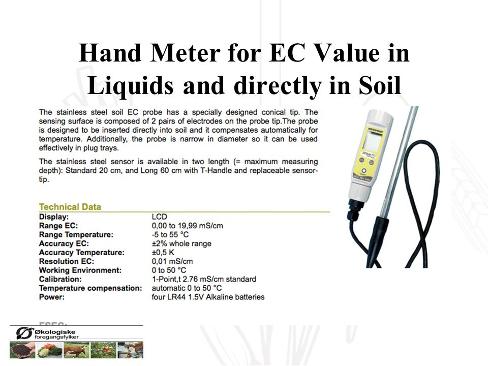 Hand Meter for EC Value in Liquids and directly in Soil solution