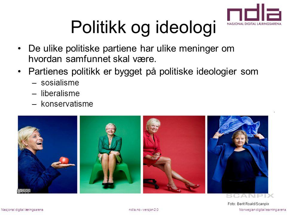Politikk og ideologi De ulike politiske partiene har ulike meninger om hvordan samfunnet skal være.