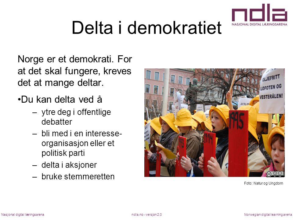 Delta i demokratiet Norge er et demokrati. For at det skal fungere, kreves det at mange deltar. Du kan delta ved å.