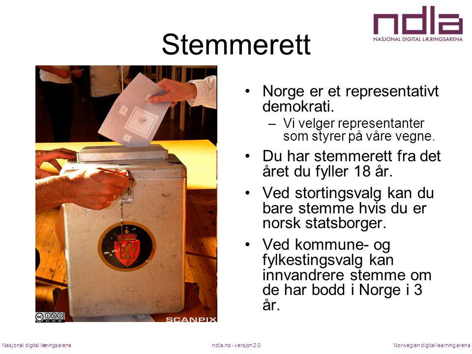 Stemmerett Norge er et representativt demokrati.