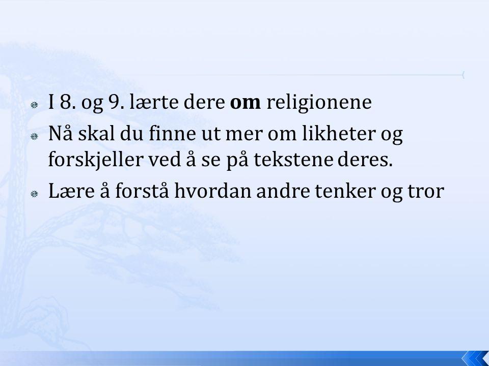 I 8. og 9. lærte dere om religionene