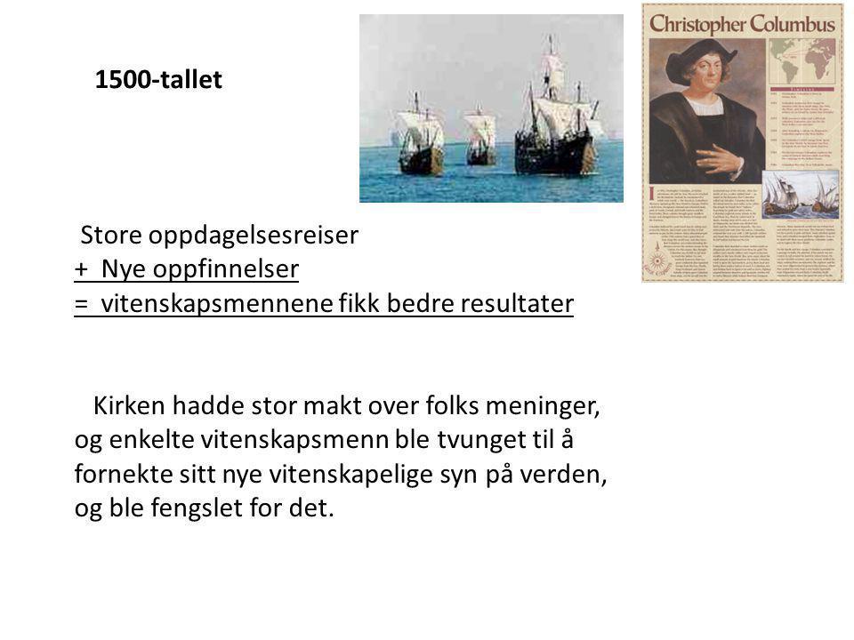 1500-tallet Store oppdagelsesreiser. + Nye oppfinnelser. = vitenskapsmennene fikk bedre resultater.