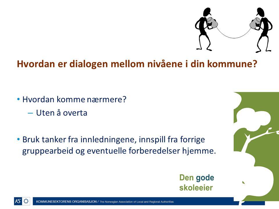 Hvordan er dialogen mellom nivåene i din kommune