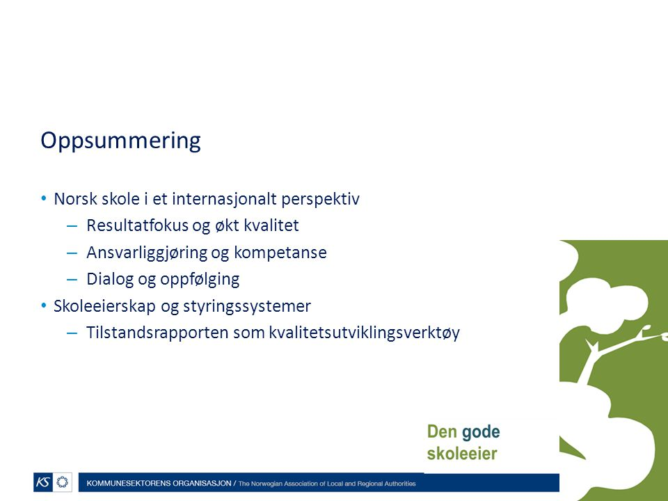 Oppsummering Norsk skole i et internasjonalt perspektiv