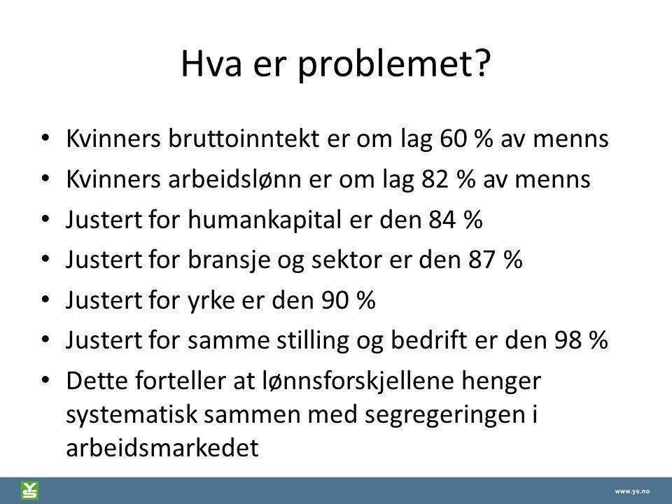 Hva er problemet Kvinners bruttoinntekt er om lag 60 % av menns