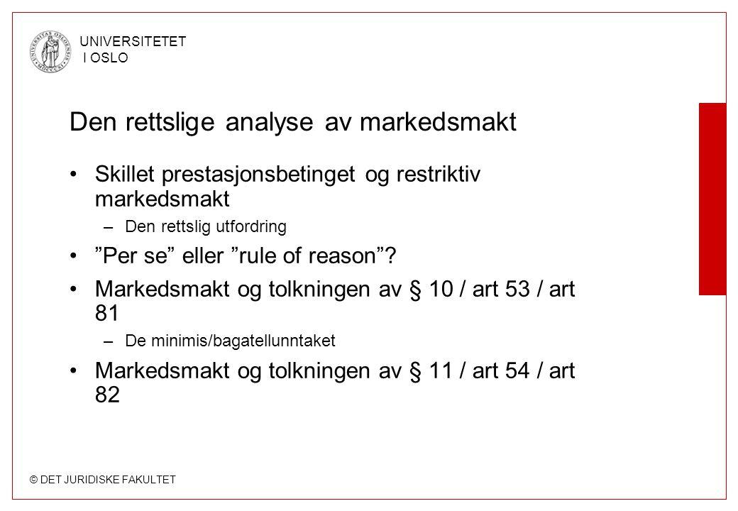 Den rettslige analyse av markedsmakt