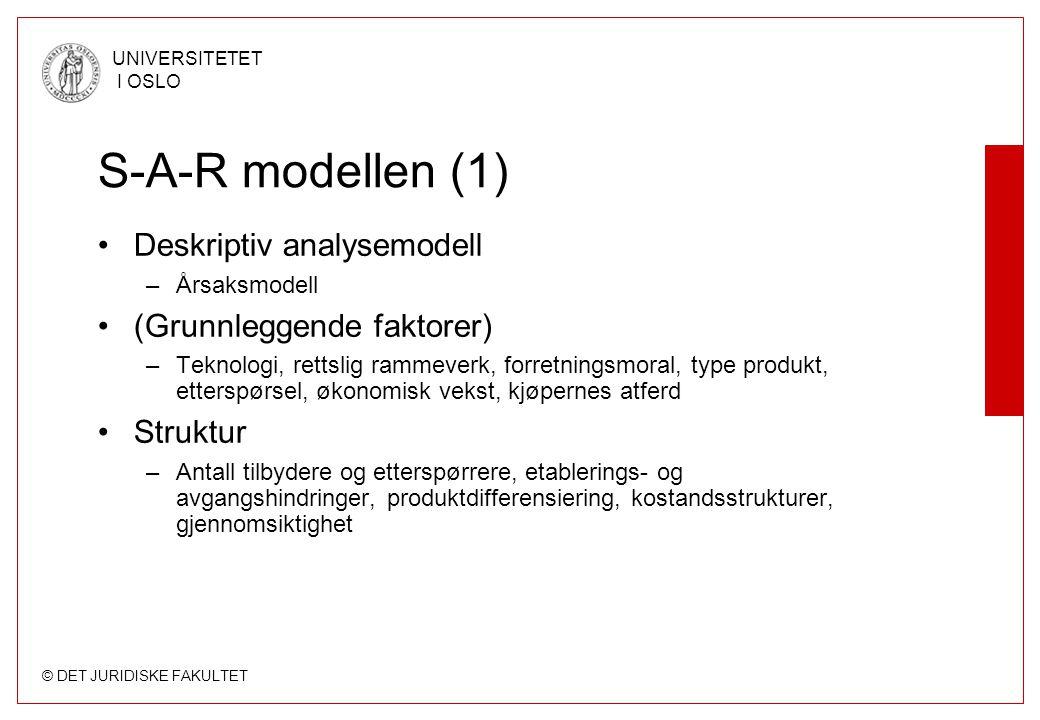S-A-R modellen (1) Deskriptiv analysemodell (Grunnleggende faktorer)