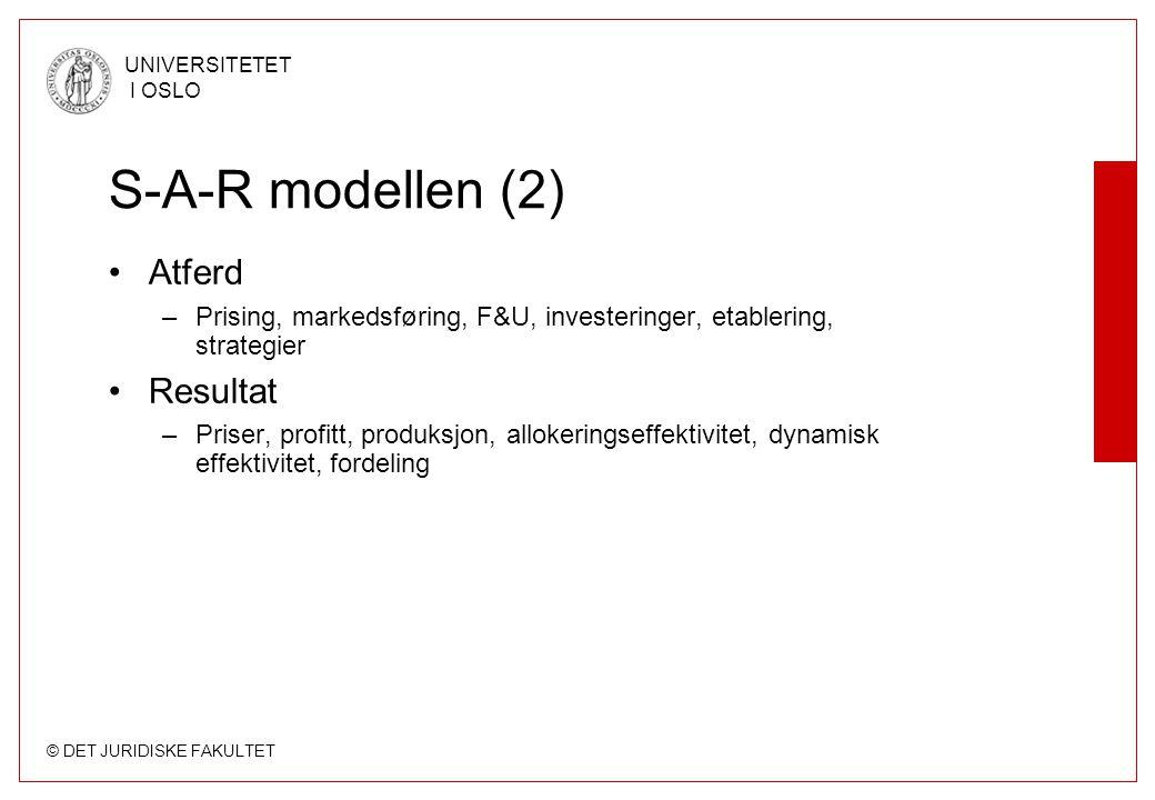 S-A-R modellen (2) Atferd Resultat