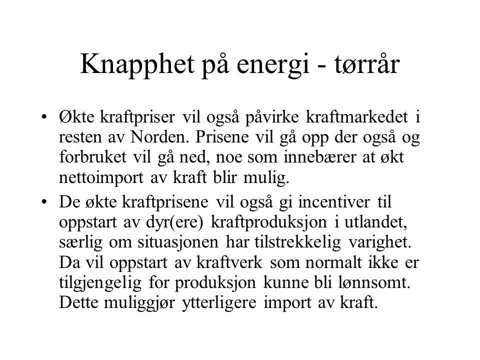 Knapphet på energi - tørrår