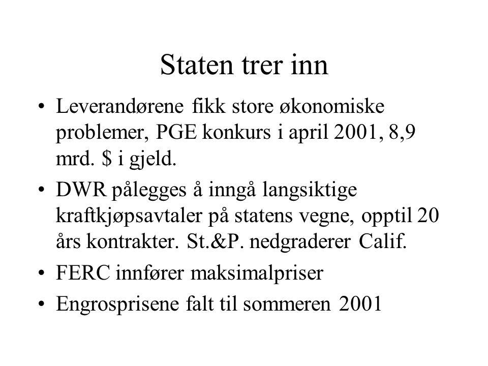 Staten trer inn Leverandørene fikk store økonomiske problemer, PGE konkurs i april 2001, 8,9 mrd. $ i gjeld.