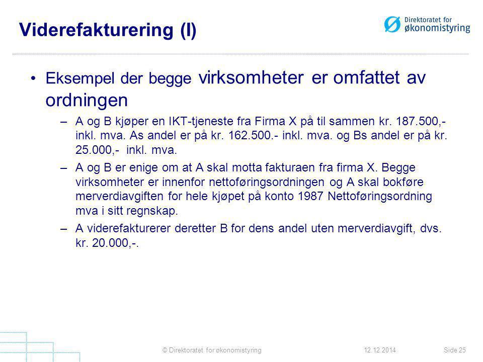 Viderefakturering (I)