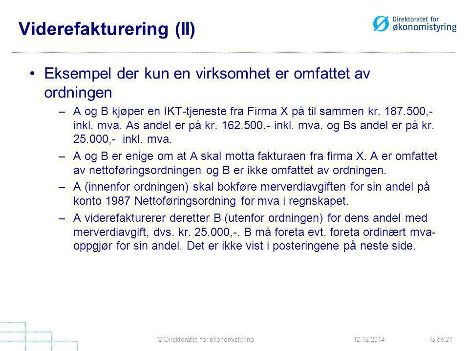 Viderefakturering (II)