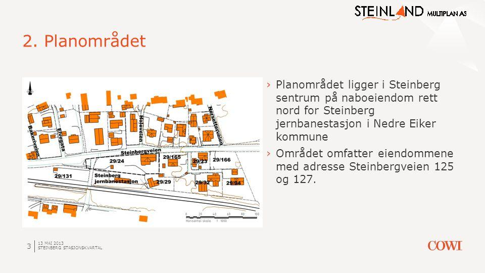 2. Planområdet Planområdet ligger i Steinberg sentrum på naboeiendom rett nord for Steinberg jernbanestasjon i Nedre Eiker kommune.