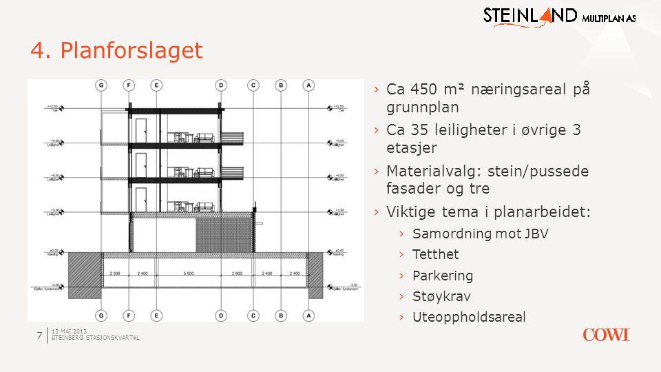 4. Planforslaget Ca 450 m² næringsareal på grunnplan