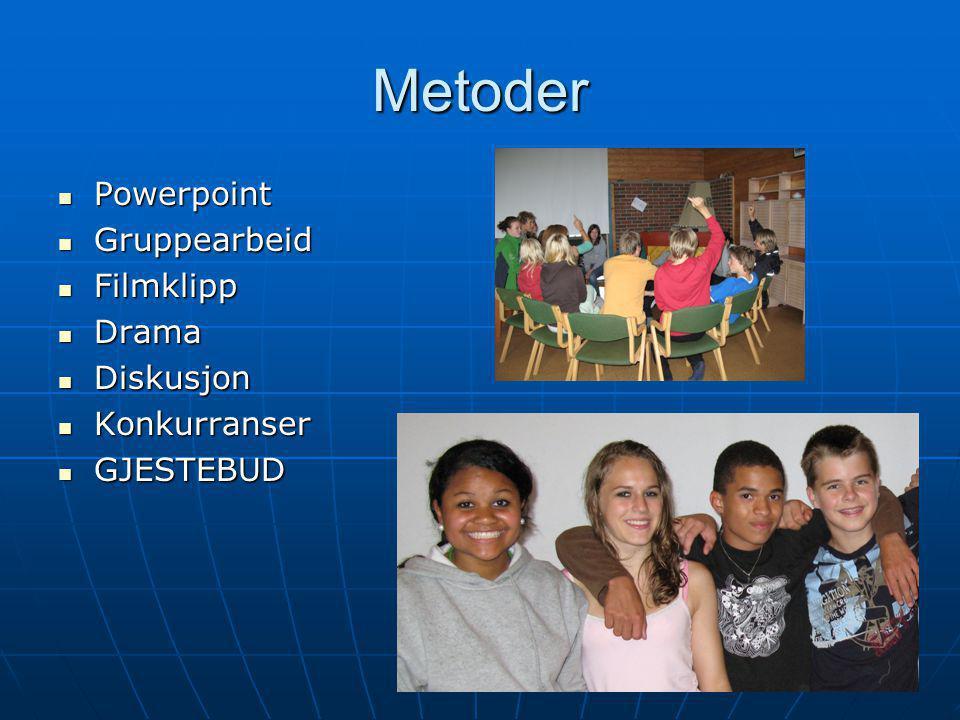 Metoder Powerpoint Gruppearbeid Filmklipp Drama Diskusjon Konkurranser