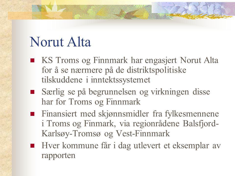 Norut Alta KS Troms og Finnmark har engasjert Norut Alta for å se nærmere på de distriktspolitiske tilskuddene i inntektssystemet.