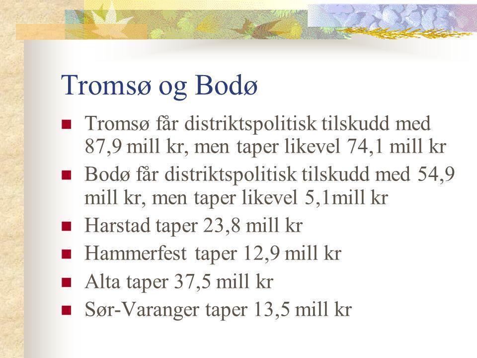 Tromsø og Bodø Tromsø får distriktspolitisk tilskudd med 87,9 mill kr, men taper likevel 74,1 mill kr.