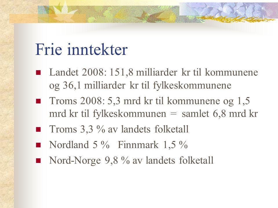 Frie inntekter Landet 2008: 151,8 milliarder kr til kommunene og 36,1 milliarder kr til fylkeskommunene.
