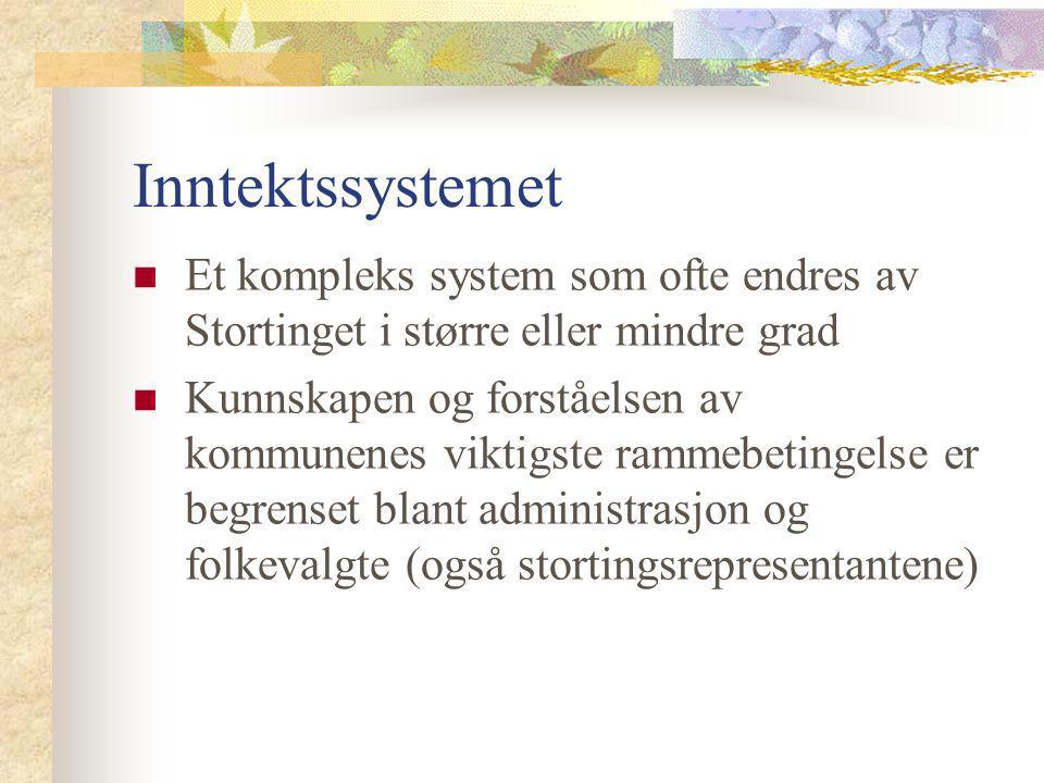 Inntektssystemet Et kompleks system som ofte endres av Stortinget i større eller mindre grad.