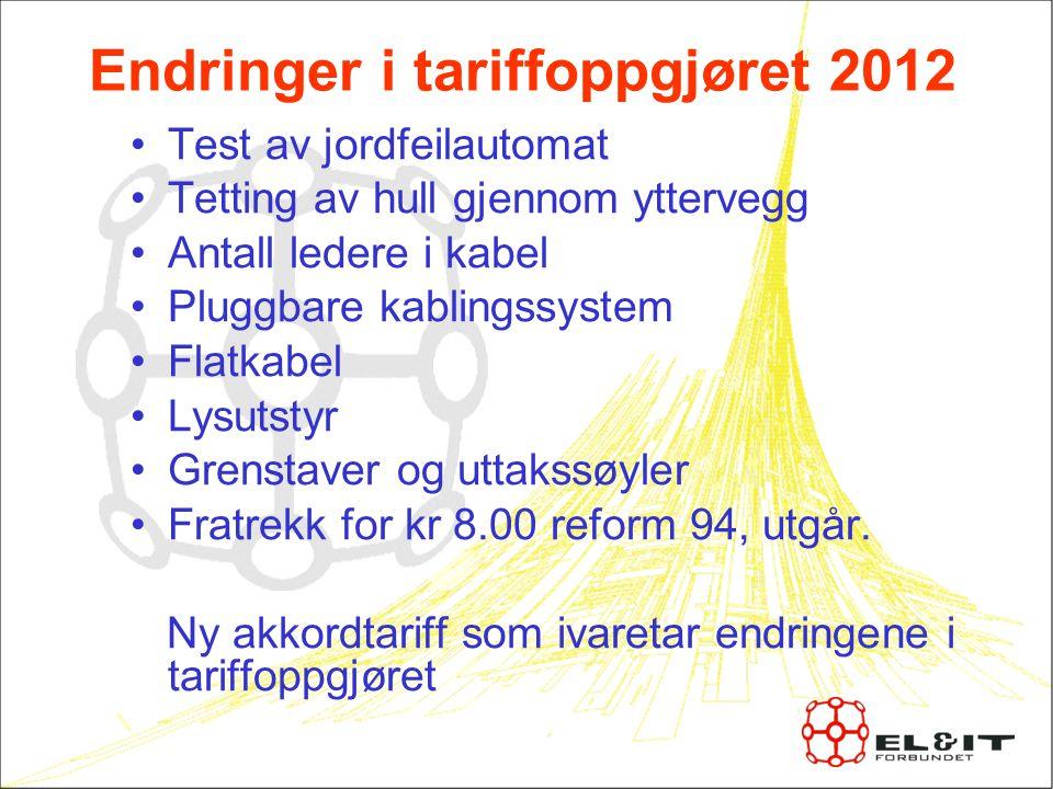 Endringer i tariffoppgjøret 2012
