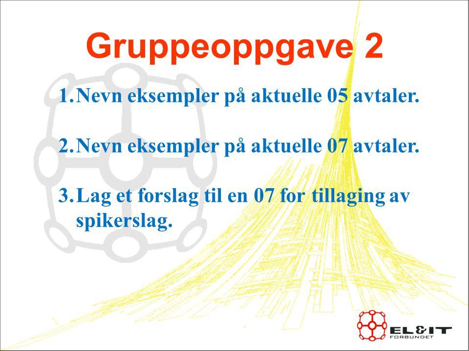 Gruppeoppgave 2 Nevn eksempler på aktuelle 05 avtaler.