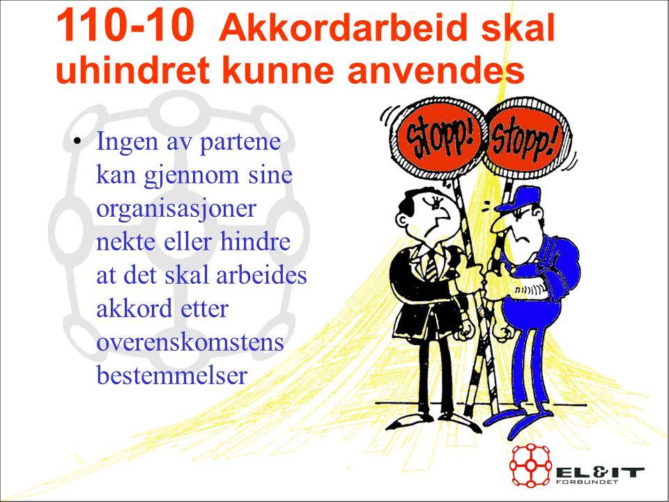 110-10 Akkordarbeid skal uhindret kunne anvendes