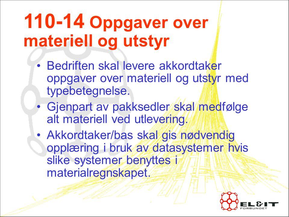 110-14 Oppgaver over materiell og utstyr