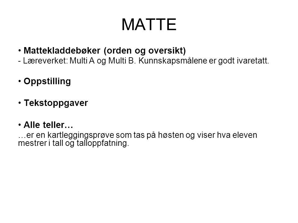 MATTE Mattekladdebøker (orden og oversikt) Oppstilling Tekstoppgaver