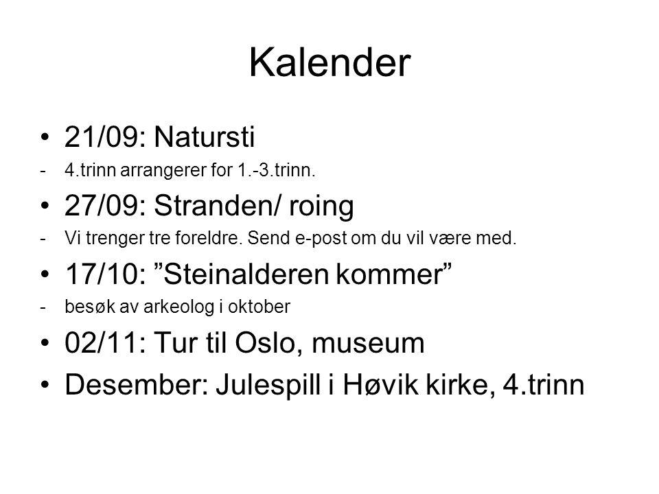 Kalender 21/09: Natursti 27/09: Stranden/ roing