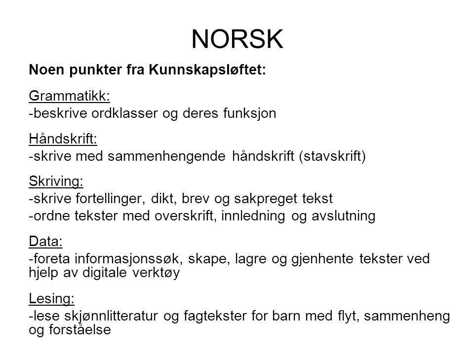 NORSK Noen punkter fra Kunnskapsløftet: Grammatikk: