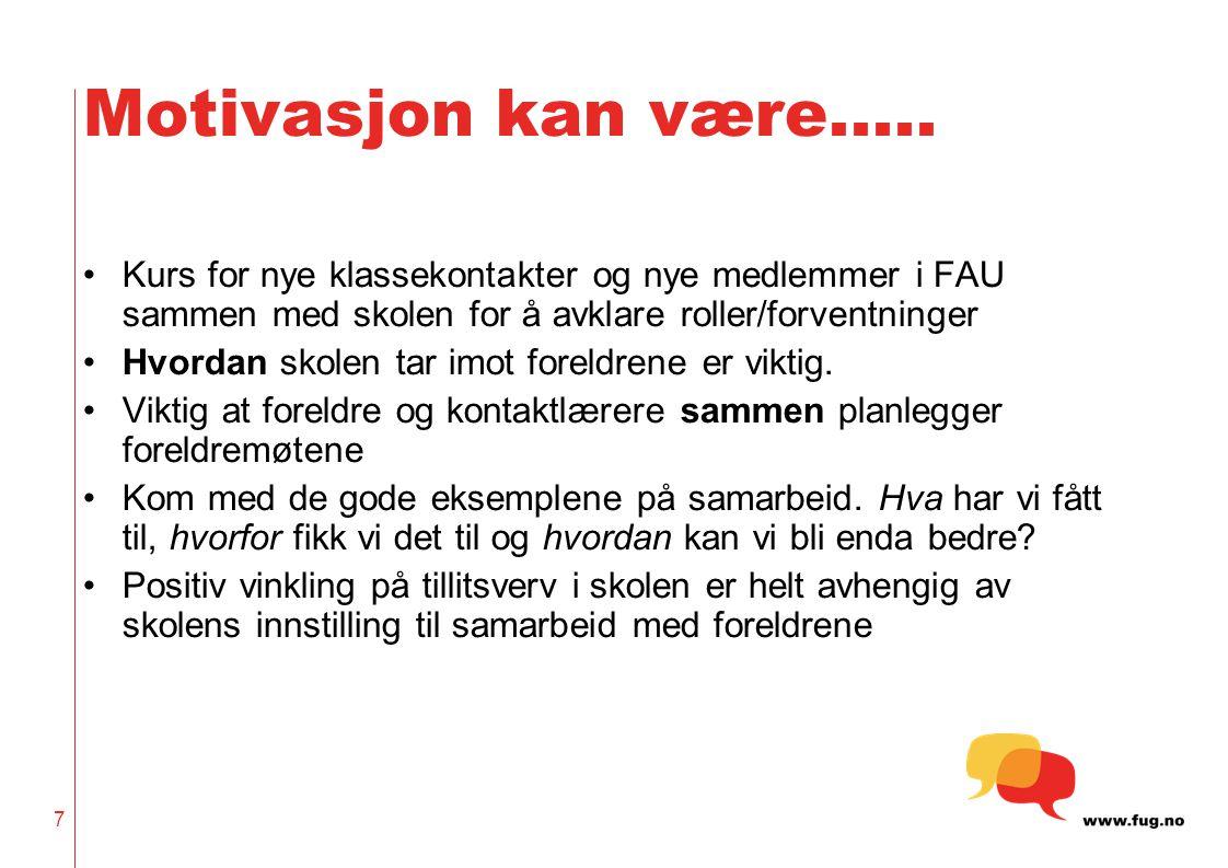Motivasjon kan være….. Kurs for nye klassekontakter og nye medlemmer i FAU sammen med skolen for å avklare roller/forventninger.