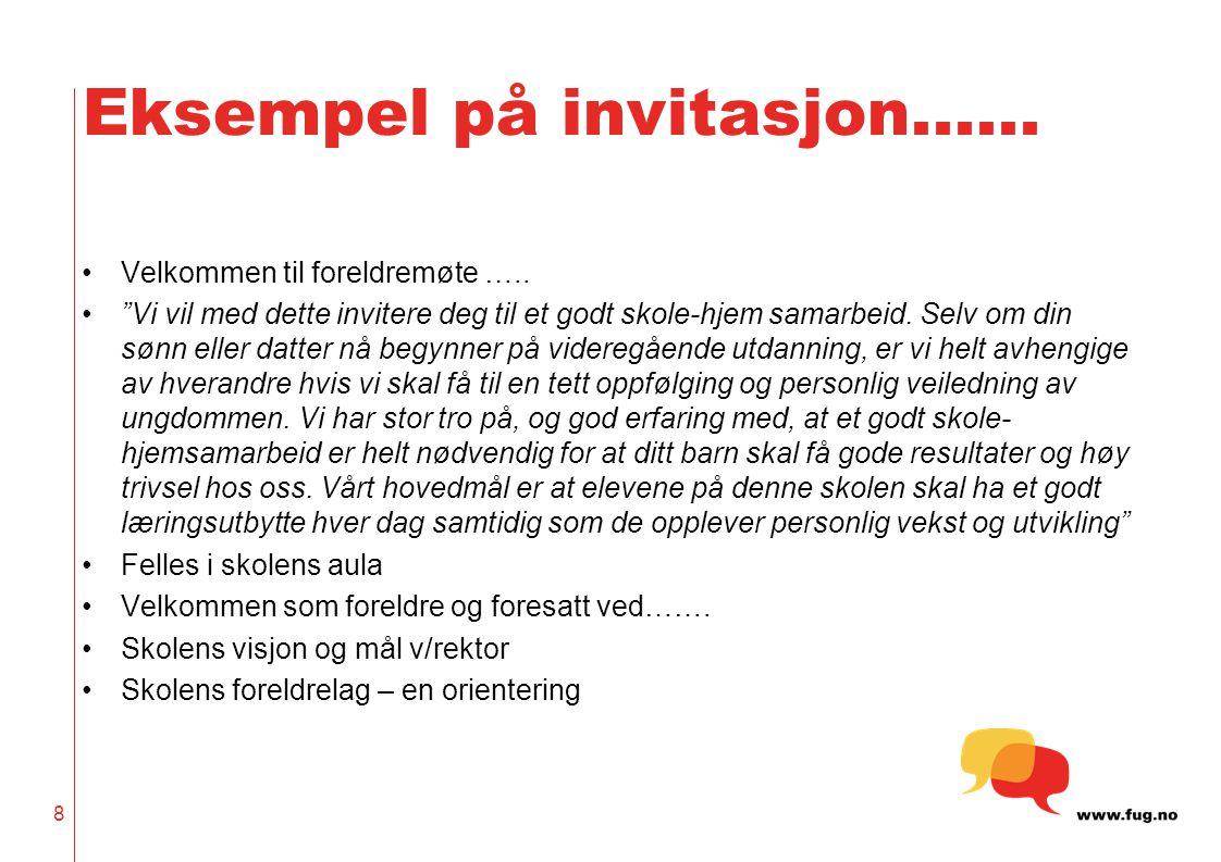 Eksempel på invitasjon……