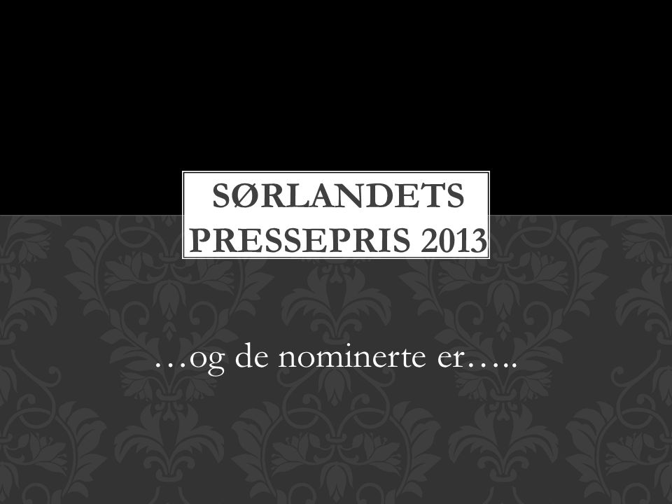 Sørlandets pressepris 2013