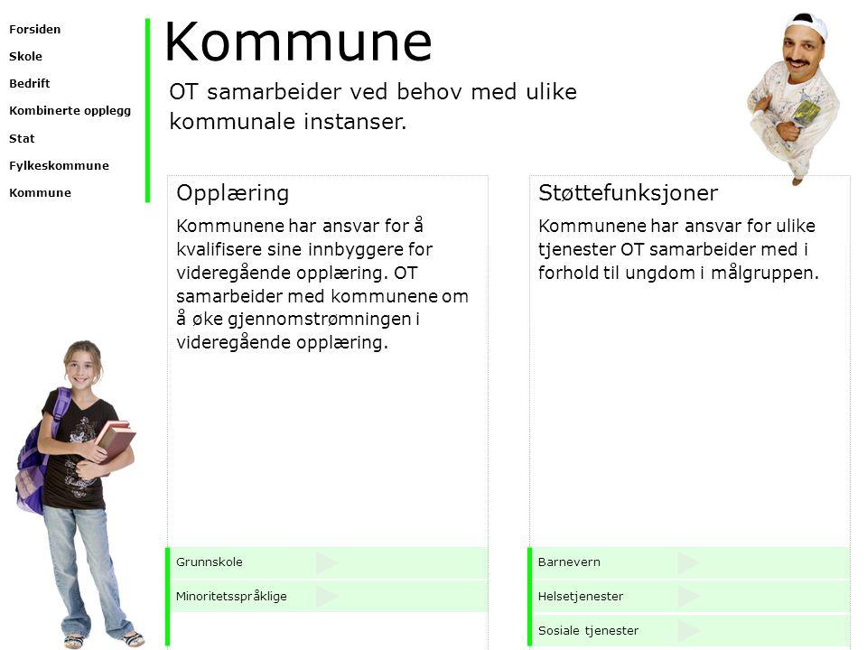 Kommune OT samarbeider ved behov med ulike kommunale instanser.