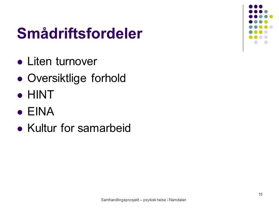 Samhandlingsprosjekt – psykisk helse i Namdalen