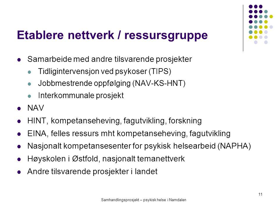Etablere nettverk / ressursgruppe