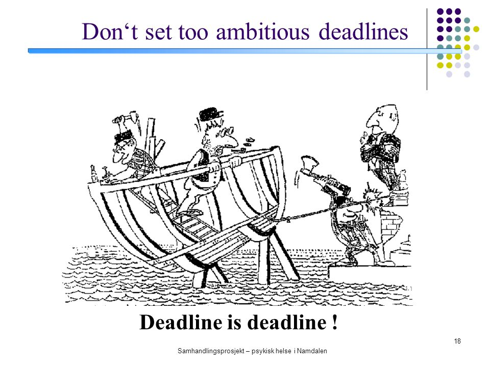 Don't set too ambitious deadlines