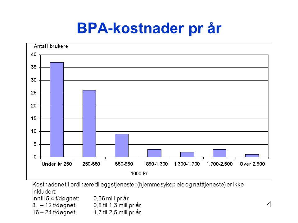BPA-kostnader pr år Kostnadene til ordinære tilleggstjenester (hjemmesykepleie og natttjeneste) er ikke inkludert: