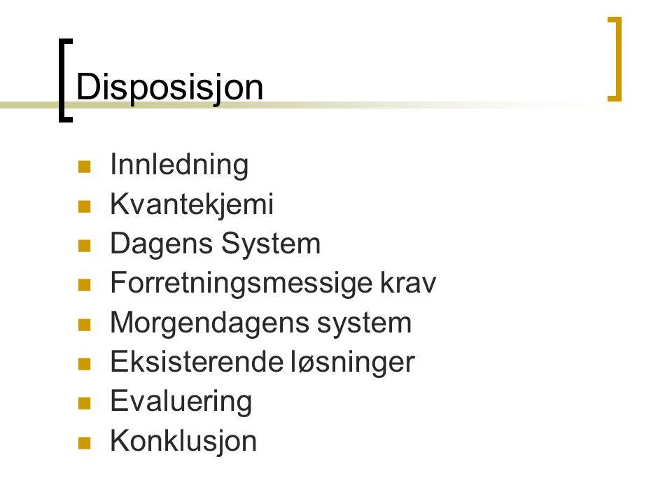 Disposisjon Innledning Kvantekjemi Dagens System
