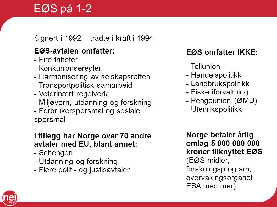 EØS på 1-2 Signert i 1992 – trådte i kraft i 1994 EØS-avtalen omfatter: - Fire friheter. - Konkurranseregler.