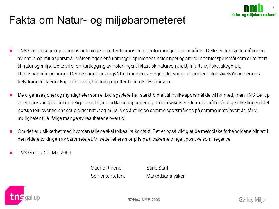 Fakta om Natur- og miljøbarometeret