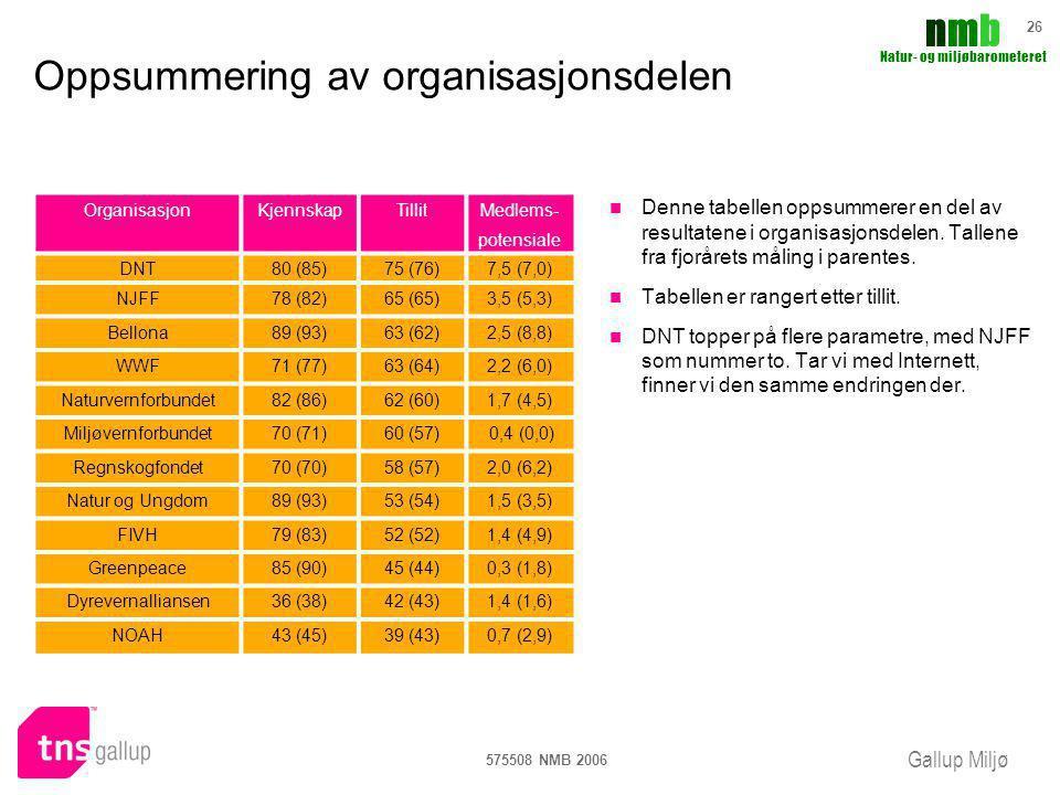 Oppsummering av organisasjonsdelen