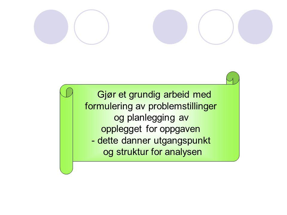 Gjør et grundig arbeid med formulering av problemstillinger