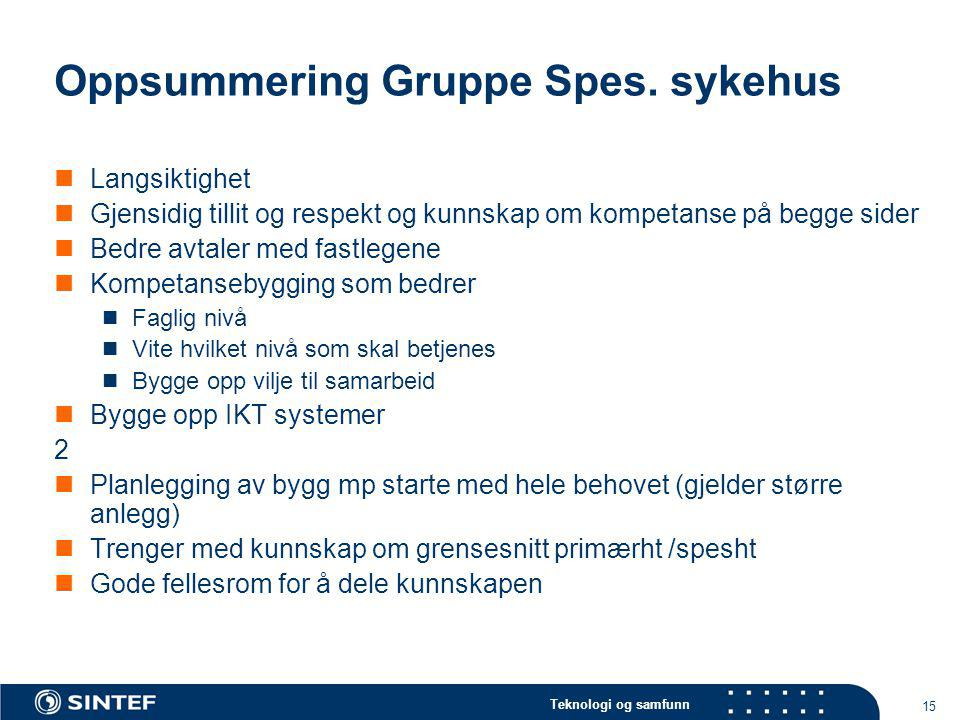 Oppsummering Gruppe Spes. sykehus