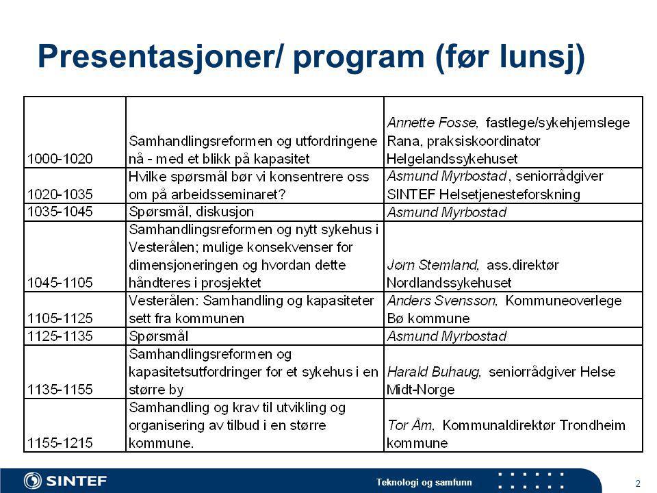 Presentasjoner/ program (før lunsj)