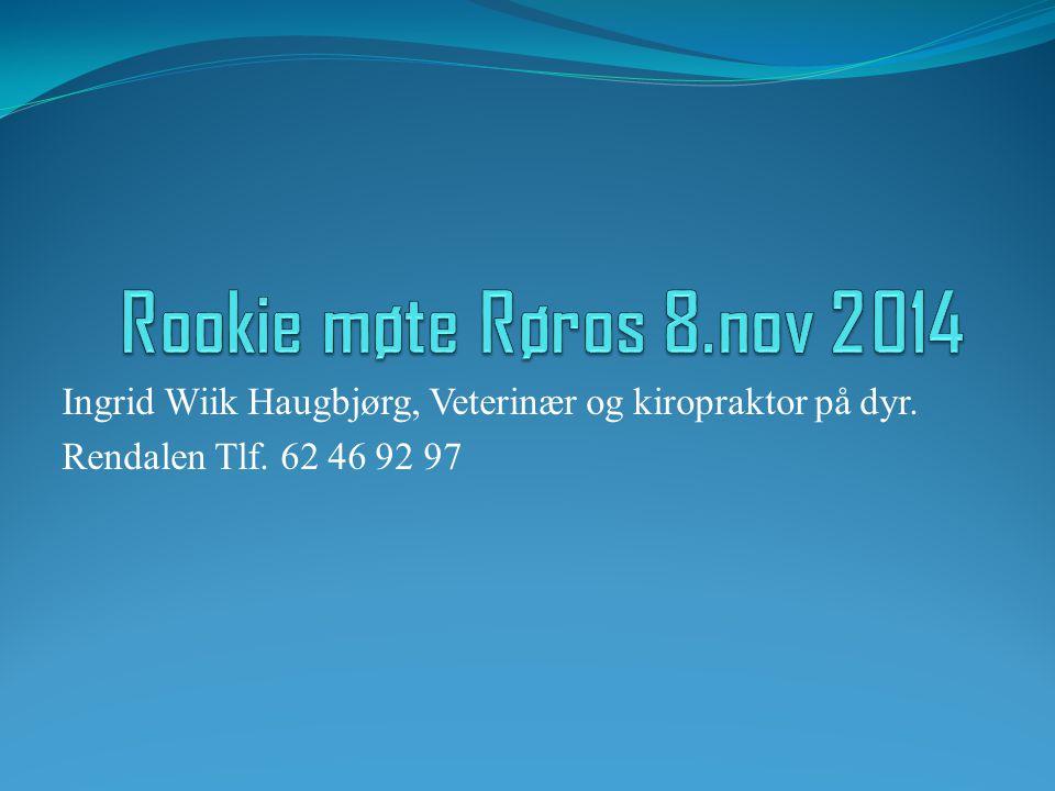 Rookie møte Røros 8.nov 2014 Ingrid Wiik Haugbjørg, Veterinær og kiropraktor på dyr.